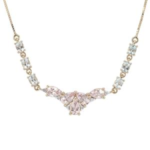 Aquaiba™ Beryl, Cherry Blossom™ Morganite Necklace with Diamond in 9K Gold 2.76cts