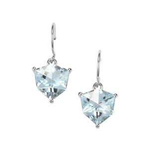 Alpine Cut Sky Blue Topaz Earrings in 10k White Gold 6.55cts