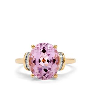 Kolum Kunzite Ring with Diamond in 18K Gold 6.03cts