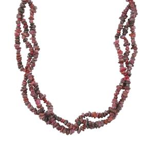 Ruby 3 line Fancy Nugget Bead Necklace in Sterling Silver 350cts