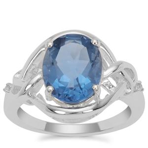 Colour Change Fluorite Ring with White Zircon in Sterling Silver 4.26cts