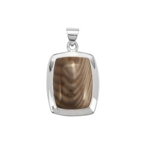 Cappuccino Flint Pendant in Sterling Silver 22cts