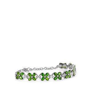 Chrome Diopside & White Topaz Sterling Silver Bracelet ATGW 6.96cts