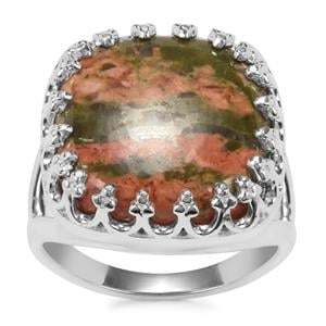 Unakite Ring in Sterling Silver 13.96cts