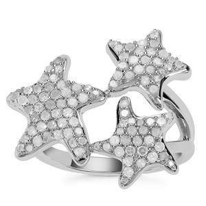 Diamond Star Design Ring in Sterling Silver 0.75ct