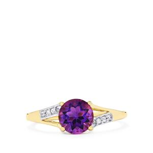 Moroccan Amethyst & White Zircon 9K Gold Ring ATGW 1.26cts