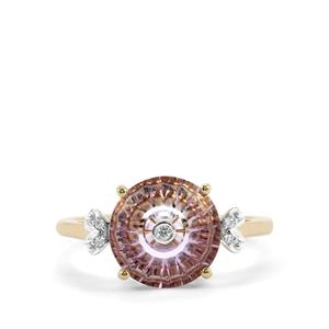 Lehrer TorusRing Rose De France Amethyst Ring with Diamond in 9K Gold 2.65cts