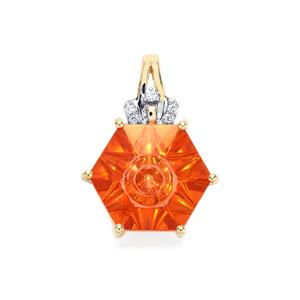 Lehrer QuasarCut Padparadscha Quartz Pendant with Diamond in 10K Gold 2.85cts