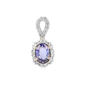 AA Tanzanite Pendant with White Zircon in 9K Gold 0.82ct