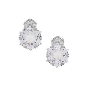 Wobito Snowflake Cut White Topaz Earrings with White Zircon in 9K White Gold 5.90cts