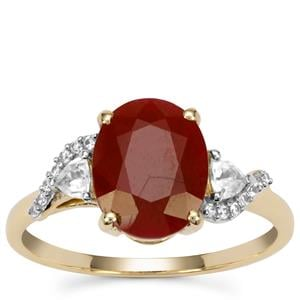 Burmese Ruby Ring with White Zircon in 9K Gold 3.65cts