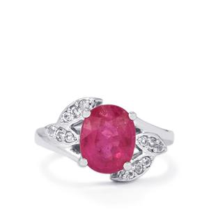 Ilakaka Hot Pink Sapphire Ring with White Topaz in Sterling Silver 3.81cts (F)