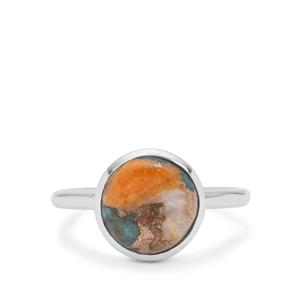 Oyster Copper Mohave Turquoise Ring in Sterling Silver 4.25cts