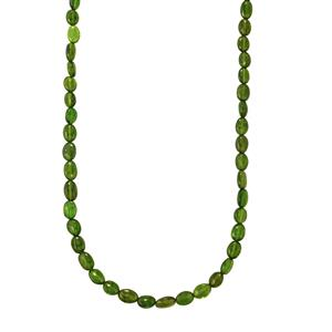 59ct Chrome Diopside Sterling Silver Graduated Bead Necklace