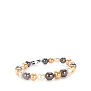 Tahitian, South Sea & Golden South Sea Pearl Sterling Silver Bracelet (10x9mm)