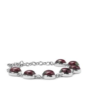 Ruby-Zoisite Bracelet  in Sterling Silver 34.87cts