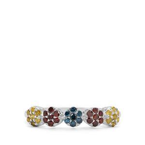 1/2ct Cognac, Yellow & Blue Diamond Sterling Silver Ring