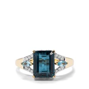 Orissa Kyanite, London Blue Topaz & White Zircon 9K Gold Ring ATGW 3.25cts