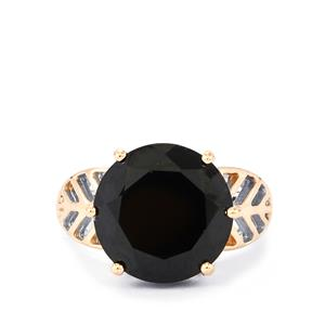 Black Spinel Ring in Rose Gold Plated Sterling Silver 11cts