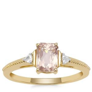 Cherry Blossom™ Morganite Ring with White Zircon in 9K Gold 1cts
