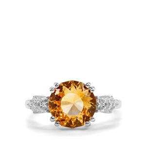 Lotus Cut Diamantina Citrine Ring with White Topaz in Sterling Silver 3.77cts