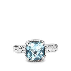 Blue Topaz Samuel B Ring in Sterling Silver 4cts