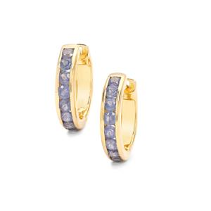 Halo Sapphire Hoop Earrings in Gold Plated Sterling Silver