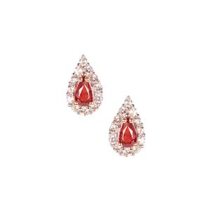 Winza Ruby Earrings with White Zircon in 9K Gold 1.03cts