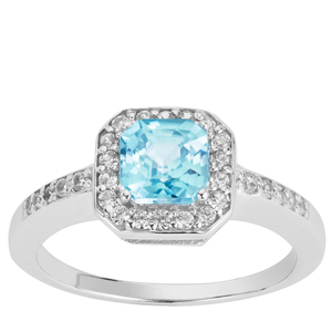 Ratanakiri Blue Zircon Ring with White Zircon in Sterling Silver 1.81cts