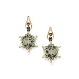 Prasiolite Wobito Snowflake Earrings with Green Diamond in 10K Gold 4.24cts