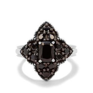 1.60ct Black Spinel Sterling Silver Ring