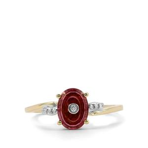 Lehrer TorusRing Malawi Garnet Ring with Diamond in 10K Gold 1.34cts