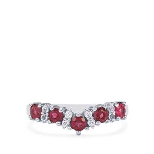 Cruzeiro Rubellite Ring with White Topaz in Sterling Silver 0.68cts