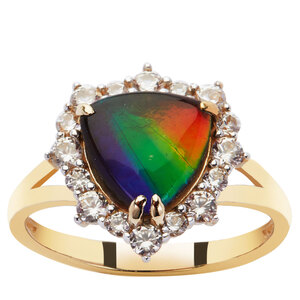 AA Ammolite (9x9mm) Ring with White Zircon in 9K Gold