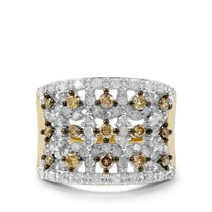 1.70ct Champagne & White Diamond 10K Gold Ring