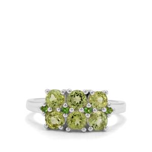 Red Dragon Peridot  & Chrome Diopside Sterling Silver Ring ATGW 1.77cts
