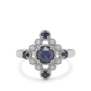 Rose Cut Bharat Blue Sapphire & White Zircon Sterling Silver Ring ATGW 1.54cts