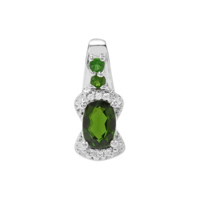 Chrome Diopside Pendant with White Zircon in Sterling Silver 1.04cts