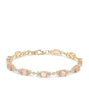 Peach Parti Oregon Sunstone Bracelet with White Zircon in 9K Gold 5.55cts