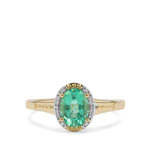 Ethiopian Emerald Ring with Diamond in 9K Gold 1.24cts