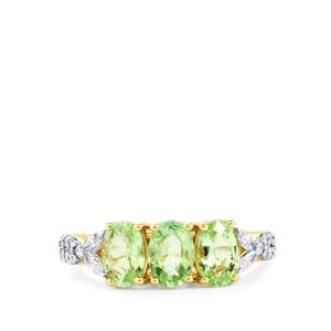 Paraiba Tourmaline Ring with Diamond in 18K Gold 1.45cts