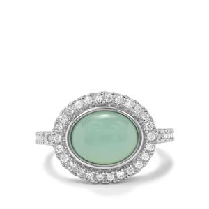 Prase Green Opal & White Zircon Sterling Silver Ring ATGW 3.34cts