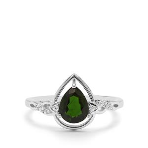 Chrome Diopside Ring with White Zircon in Sterling Silver 1.07cts