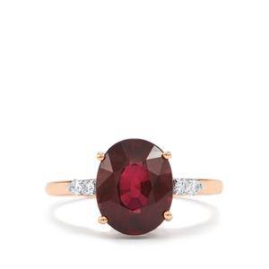 Malawi Garnet Ring with Diamond in 18K Rose Gold 4.47cts