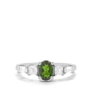 Chrome Diopside & White Zircon Sterling Silver Ring ATGW 1.61cts