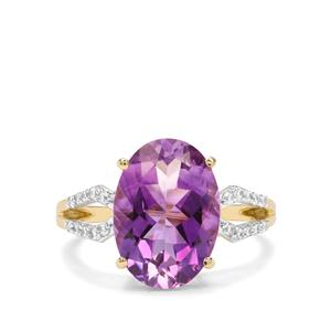 Moroccan Amethyst & White Zircon 9K Gold Ring ATGW 5.09cts