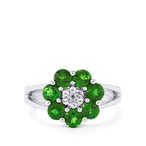 Chrome Diopside & White Topaz Sterling Silver Ring ATGW 1.80cts