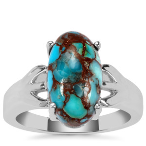 Egyptian Turquoise Ring in Sterling Silver 4.58cts