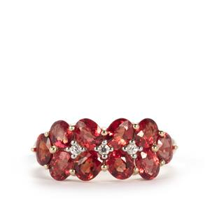 Winza Ruby Ring with White Zircon in 9K Gold 2.97cts