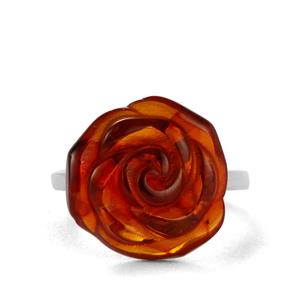 Baltic Cognac Amber Ring in Sterling Silver (15mm)